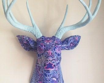 Blue Paisley Deer Head Wall Mount Faux Taxidermy