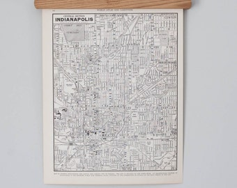 Indianapolis 1930s Map | Antique Indiana City Map