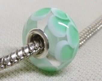 SRA Light Green Scales Bead Handmade Lampwork Bead European Large Hole Charm Bead