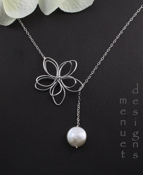 Flower and Pearl Lariat, Garden Moon Necklace,Pearl Necklace,Wedding Jewelry,Bridal Party Gift,Silver Flower Necklace,Best friend,Christmas