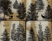 Forest Trees and Animal Handmade Glass Coaster Set from Upcycled Dictionary page book art - WilD WorDz - A Walk in the Wordz  No. 1