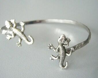 Lizard wrap bracelet, gecko bracelet, animal bracelet, charm bracelet, bangle