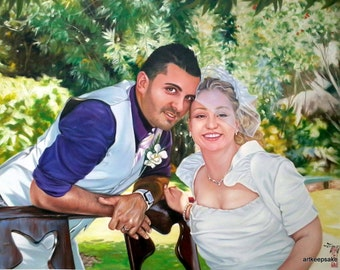 Wedding portrait from photo, large oil painting on canvas. 100% money-back guarantee
