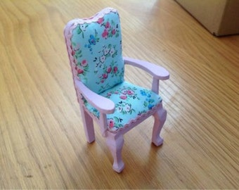 DOLLS HOUSE MINIATURES - 1/12th Pink Chair with Blue Floral Material