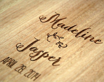 wedding guest book custom wood guest book engraved wooden album // whimsical design