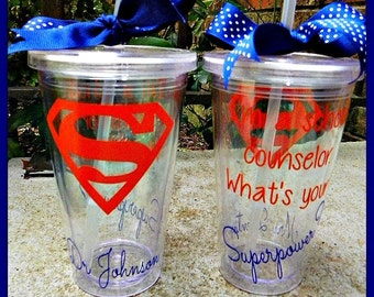 I'm a School Counselor whats your Superpower Personalized tumbler with straw with name  16 oz