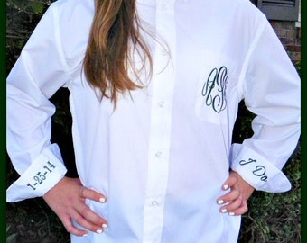 Bridal Party Wedding Day Shirts - Monogrammed Button Down Oxford Shirt