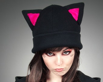Black Cap Kitty Hot Pink Fur Hat KItty Animal Ears Beanie earmuffs pompons