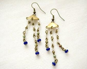 Cascade chandelier earrings with clear and blue Czech glass beads - Summer Rain