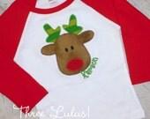 Reindeer Raglan Sleeve Shirt Tee Christmas Applique Personlized Monogrammed