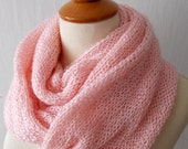 Infinity Scarf Knit  Circle Tube Scarf  In Salmon Pink Acrylc with Kid Mohair Super Soft SALE