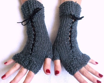Grey Fingerless Gloves Corset Wrist Warmers with Suede Ribbons Victorian Style