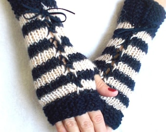 Fingerless Corset Gloves Dark Blue Cream  Wrist Warmers with Blue Suede Ribbons