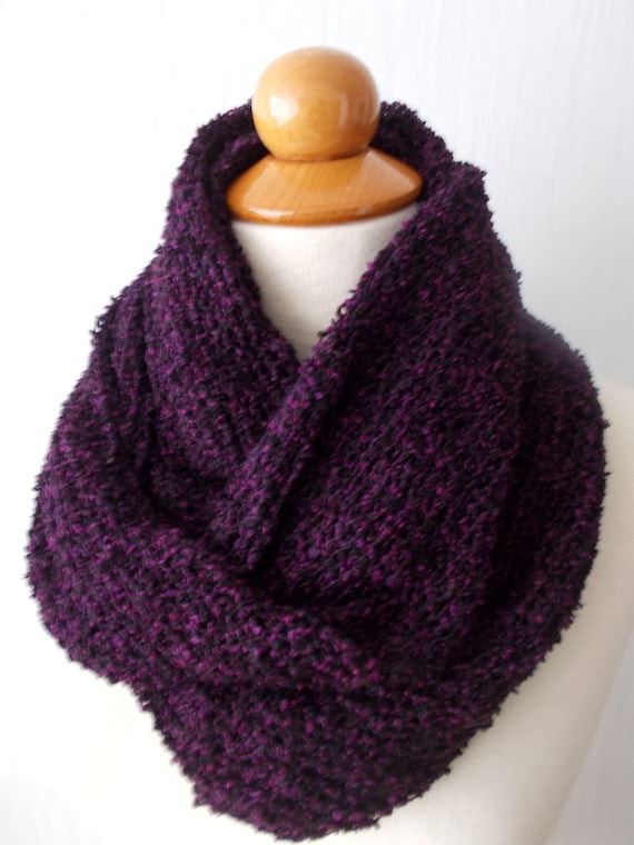 Knitted Infinity Scarf Circular Tube Scarf In Black Purple