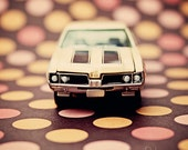 nursery kids decor toy muscle car colorful vintage modern salmon pink peach brown russet dots - 442 Polka -  Fine Art Photography Print