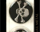 Dill Buttons Jolly Roger 25mm Shank Metal Enamel Silver Black Skull Cross Crossed Bones Pirates