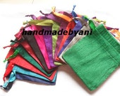 """Dupioni Silk 50 bags in mix of many colors drawstring Pouch 3"""" X 4"""" jewelry supplies, stamping jewelry bath salts herbs handmade soap"""