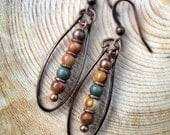 Boho Jewelry, Hammered Antiqued Copper Earrings, Earthy Unique Natural Stone Earrings