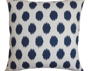 Navy Blue and White Cotton Ikat Dot Decorative Pillow Cover - Available In 3 Sizes