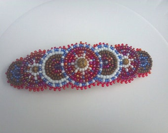 Pink Barrette Clip, Native Inspired Beaded Circle Rosette Clip, Hippie Gypsy Bohemian Beadwork, Circle Beaded Rosette, Statement Beadwork
