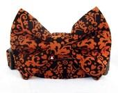 Autumn Bow Tie Dog Collar - Pumpkin Spice - Orange and Brown