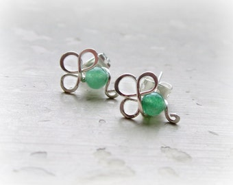 Shamrock Stud Earrings, Wire Wrap Posts, Sterling Studs, Shamrock Earrings, Aventurine Posts, St Patrick's Day, Handmade, Contempo Jewelry