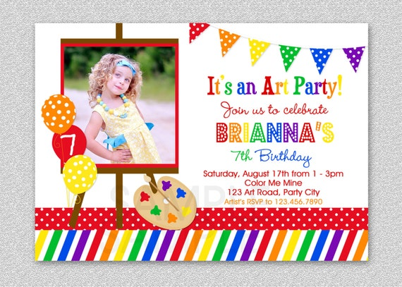 Art birthday party invitations paint and create art birthday il570xn stopboris Choice Image
