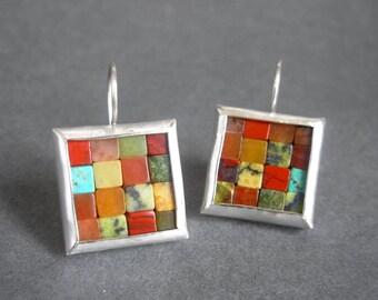 Mosaic Earrings - Fall Colors - Red Orange Gemstone Silver Earrings - Square Earrings - Foliage Colors - Red Orange Earrings - Wire Earrings