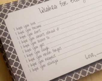 Set of 75 Professionally Printed Gray and White Wishes for Baby Cards - Unique Baby Shower Activity Game or Memory Book Idea