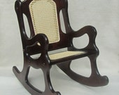 Childs Cherry Finished Rocking Chair - Caned seat and back