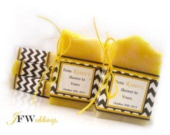 Vegan SOAP Favors ~ Bridal ~ Wedding ~ Baby Shower ~ Lemongrass and Chevron Labels or Custom Designs ~ Handmade in 7 days