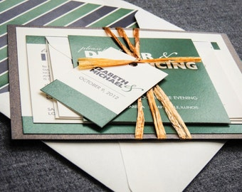 Green Wedding Invitations, Modern Wedding Invitations, Rustic Wedding Invitations, Bold Striped Modern - Flat Panel, 1 Layer, v1 - SAMPLE