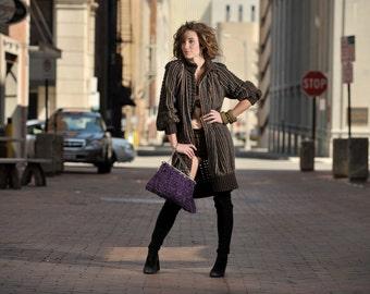 MISSONI Made in Italy Runway Italian Baio cappotto coat sweater dress 40 It 6 Us Brown Black Coat Dress Designer Apparel parladimoda nos