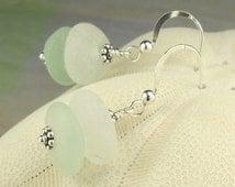 GENUINE Sea Glass Earrings In Aqua, White And Sterling Silver