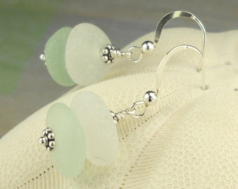 GENUINE Sea Glass Earrings In Aqua, White And Sterling Silver