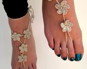 Silver Barefoot Sandals, barefoot sandles, Crocheted Anklet, Foot Jewelry, Beach Wedding, Bride accessory, bridal accessory