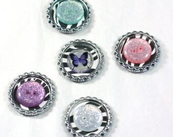 5 Butterflies, Zebras, and Buttons Bottlecap Magnet set, Handmade by me, pink purple and blue glitter buttons, lightweight magnet