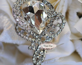 Rhinestone Brooch Embellishment- Flatback Rhinestone Brooch - DIY - Wedding - Wedding Jewelry Supply - Brooch Bouquet Supply RD230