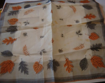 Vintage Linen  Hankie  Fall Leaves Foxing Free Ship Sticker Phillippines