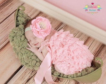 Baby Ruffle Romper Set, Baby Girl Outfit, Take Home Outfit, Baby Shower Gift, Pink Romper, Photo Prop, Lace Romper, Newborn Girl Romper
