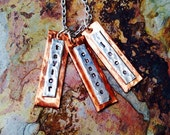 Hand stamped necklace - personalized - custom - silver -bronze