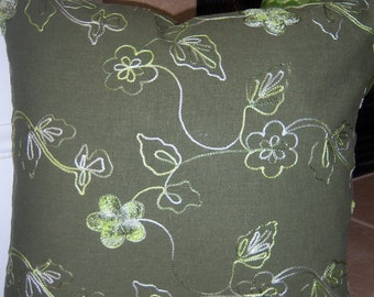 Sale  Pillow Cover Accent Home Decor Green Floral Embroidery 16 x 16 Velcro Enclosure