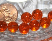 Vintage Pumpkin Orange Clear Glass - 9mm Round Beads -