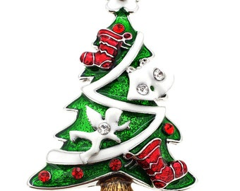 Green Enamel Christmas Tree Pin Brooch 1000121