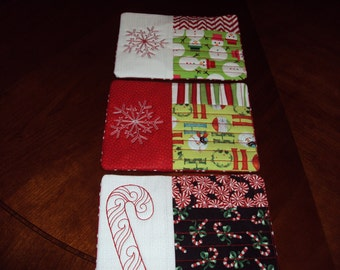 Quilted & Embroidered Holiday Mug Mats