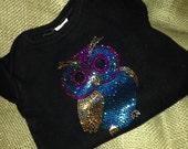 Black Baby Onesie ~ Sequin Owl ~ Size 6-12 Months