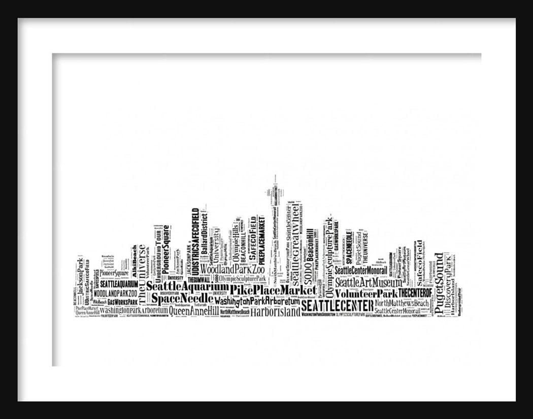 Seattle Skyline Outline Drawing Seattle Skyline Typography