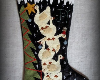FINISHED PIECE Joy to the World Christmas Stocking by cheswickcompany