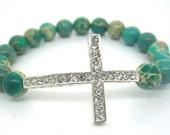 Sanctity Bracelet - Spiritual Jewellery, Jasper with Silver Rhinestones.