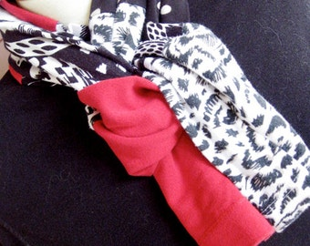 Jersey Cotton Knit Scarf in Black and Red